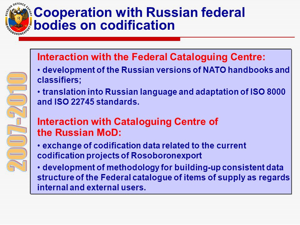 2007-2010 Cooperation with Russian federal bodies on codification