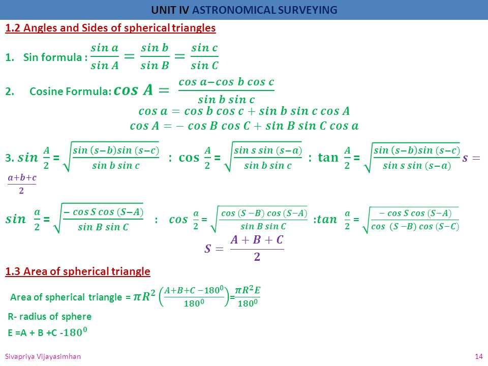 1.2 Angles and Sides of spherical triangles