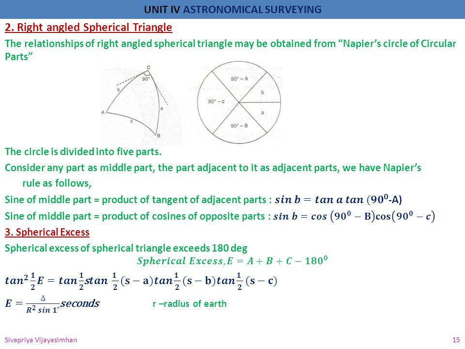 2. Right angled Spherical Triangle