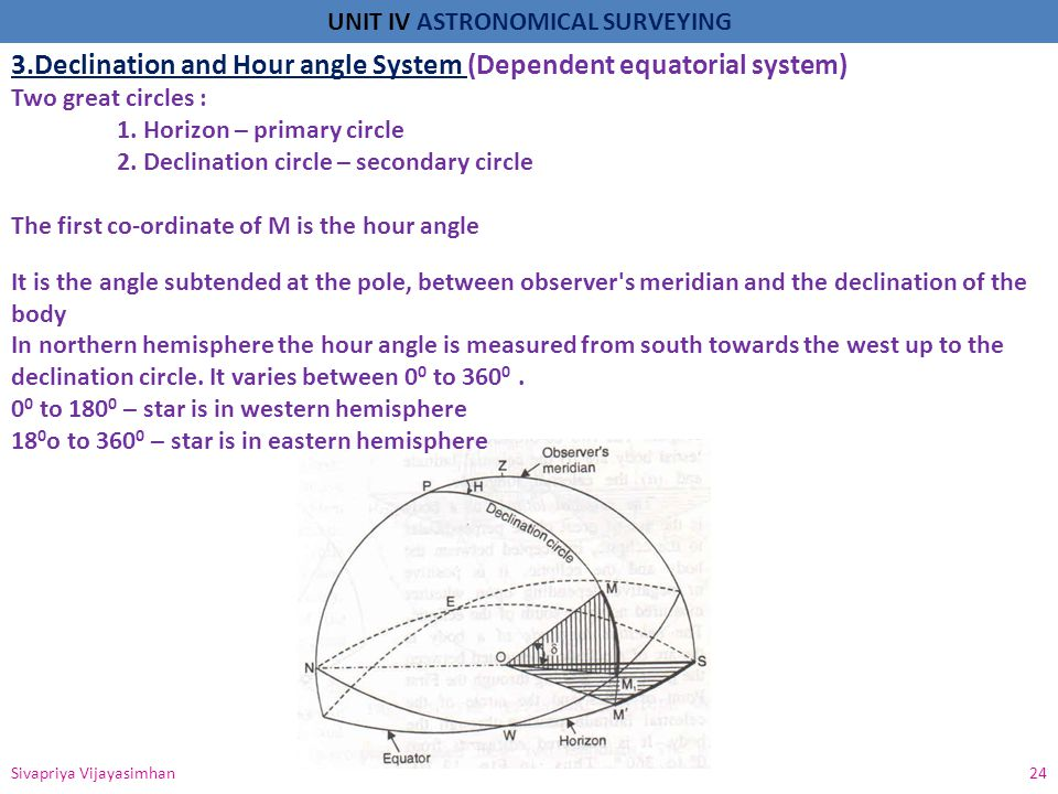 3.Declination and Hour angle System (Dependent equatorial system)