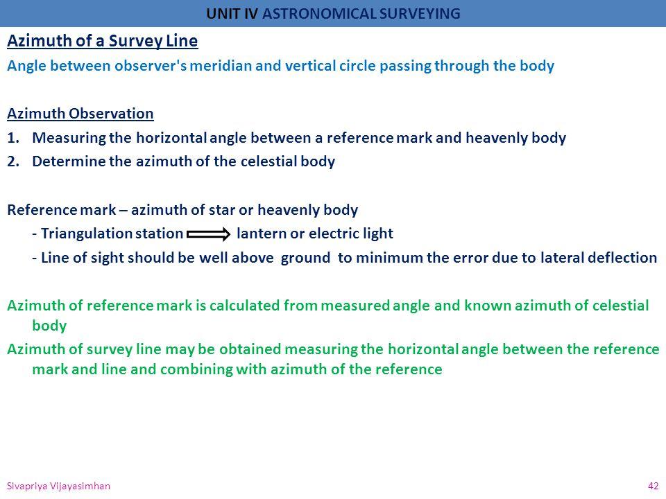 Azimuth of a Survey Line
