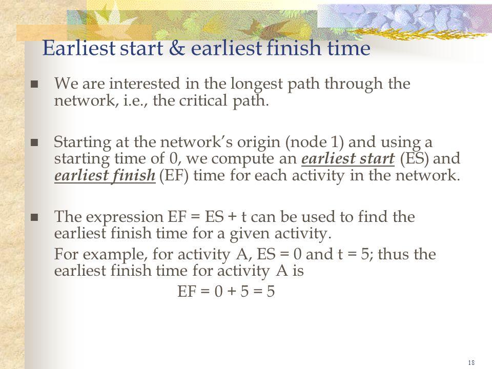 Earliest start & earliest finish time