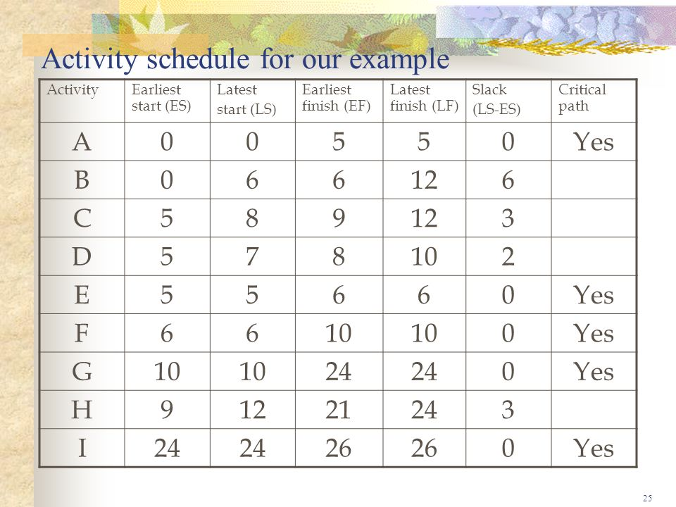 Activity schedule for our example