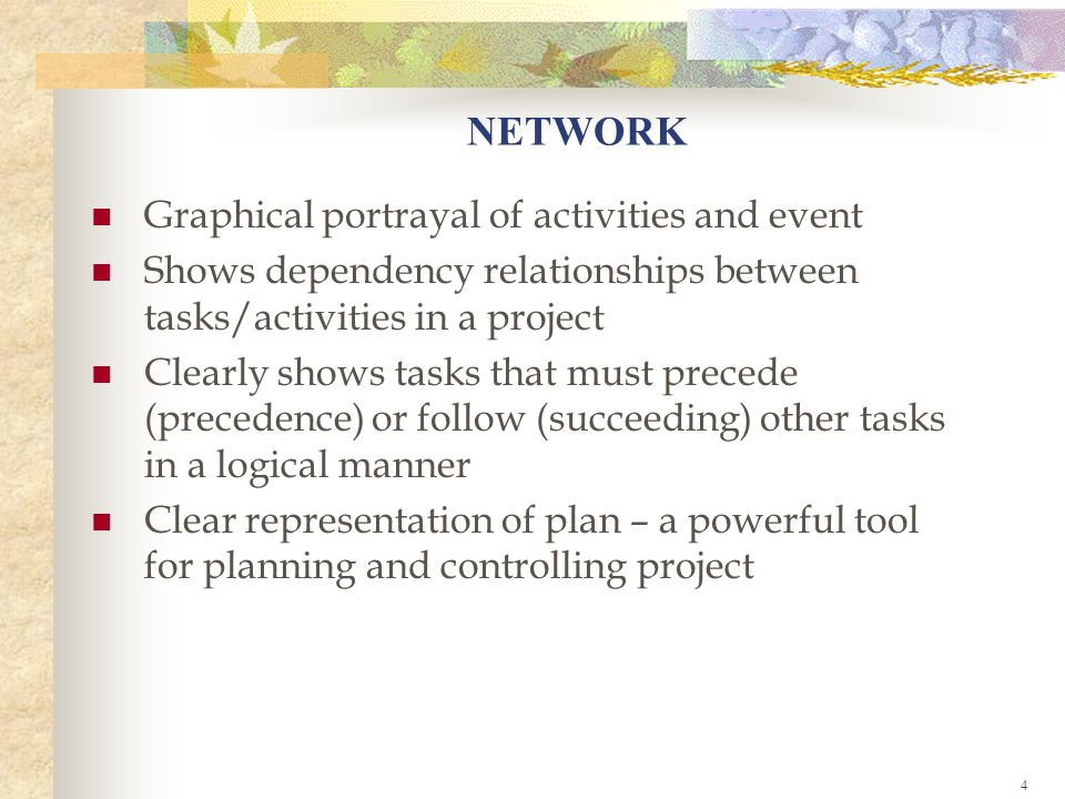 NETWORK Graphical portrayal of activities and event