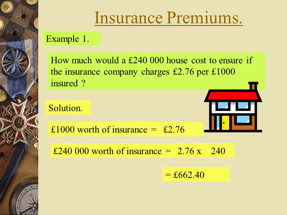 Insurance Premiums. Example 1.
