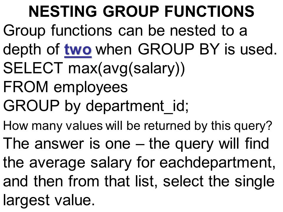 NESTING GROUP FUNCTIONS