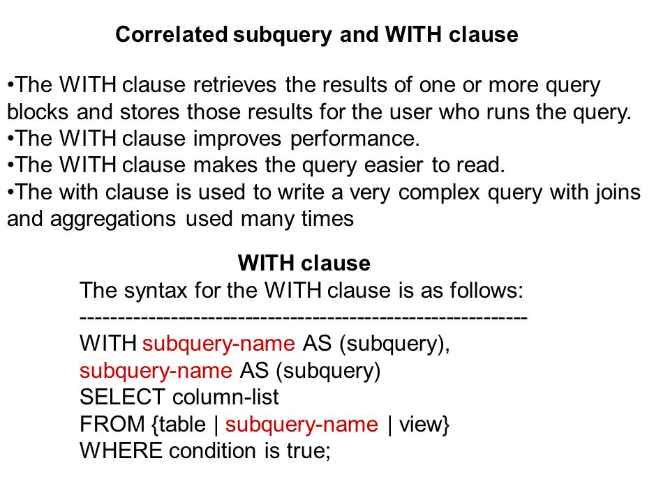 Correlated subquery and WITH clause