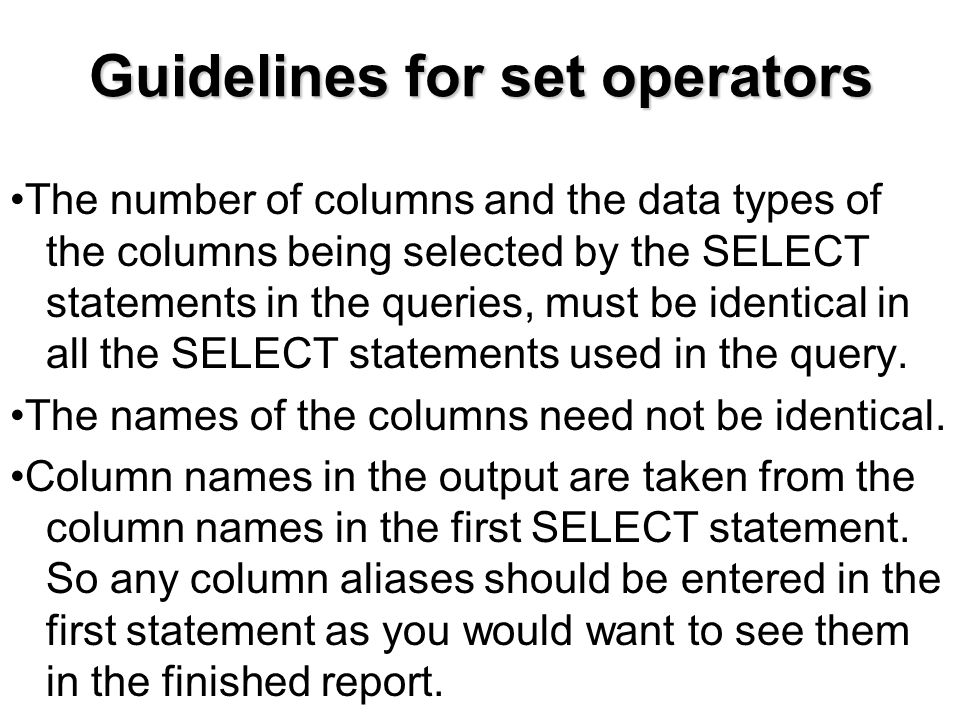 Guidelines for set operators