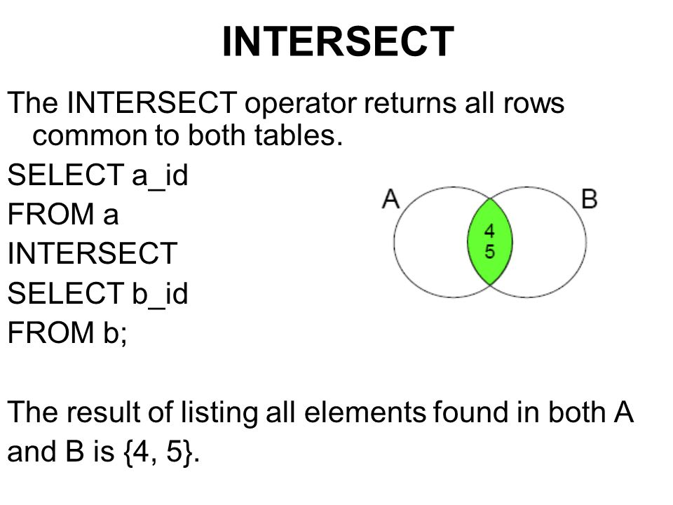 INTERSECT The INTERSECT operator returns all rows common to both tables. SELECT a_id. FROM a. INTERSECT.