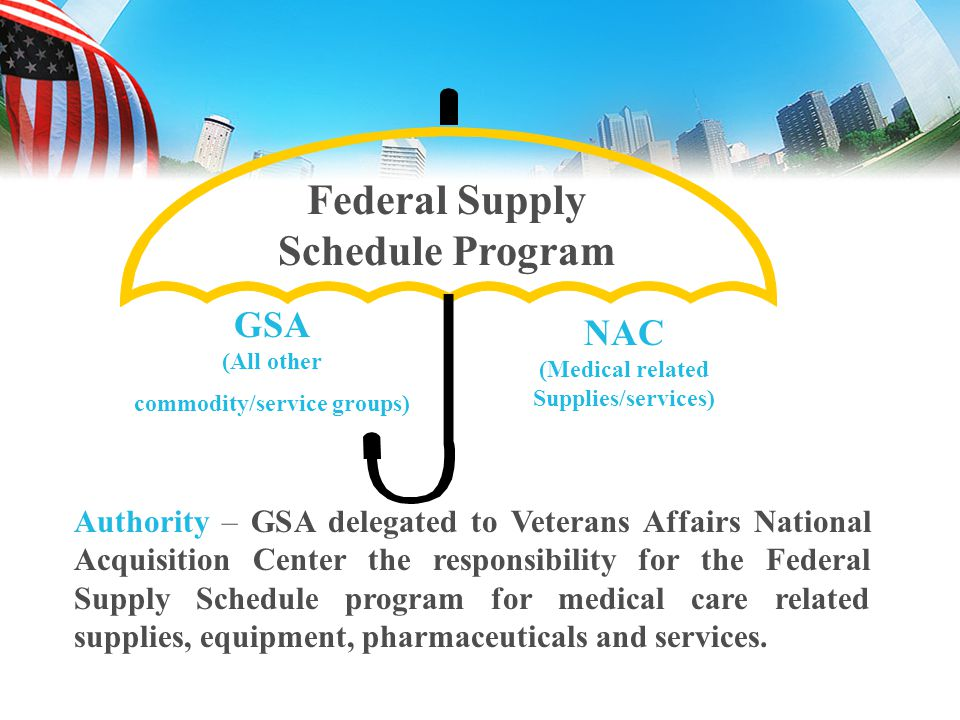 commodity/service groups) Federal Supply Schedule Program