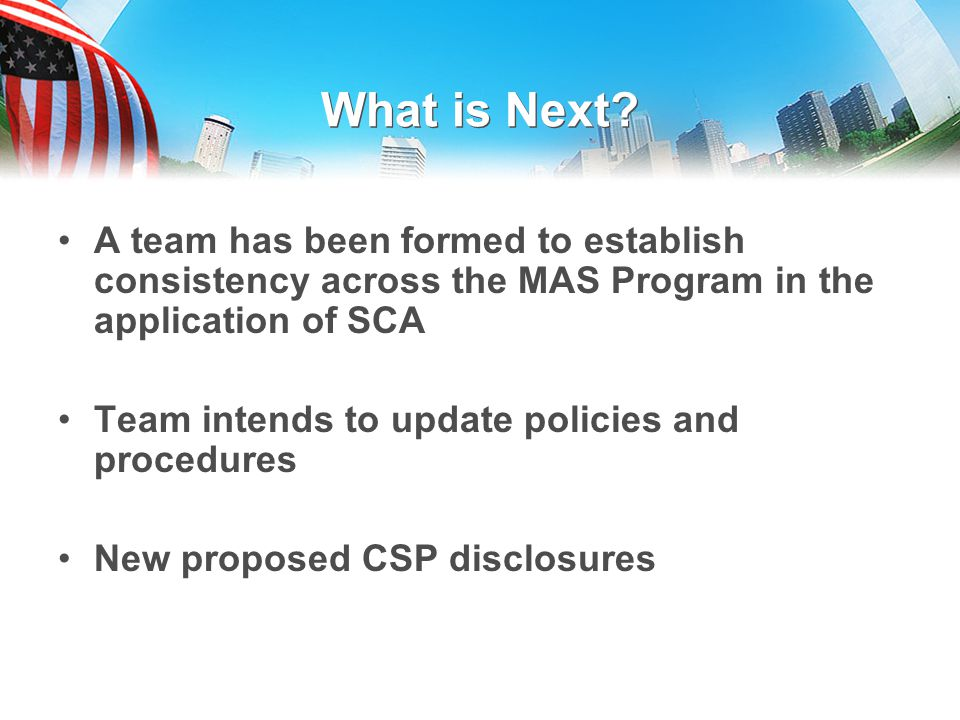 What is Next A team has been formed to establish consistency across the MAS Program in the application of SCA.
