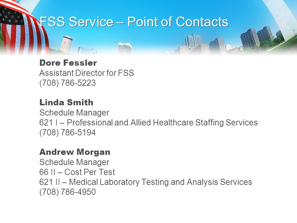 FSS Service – Point of Contacts