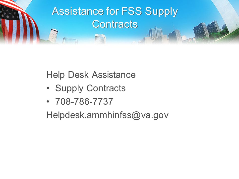 Assistance for FSS Supply Contracts