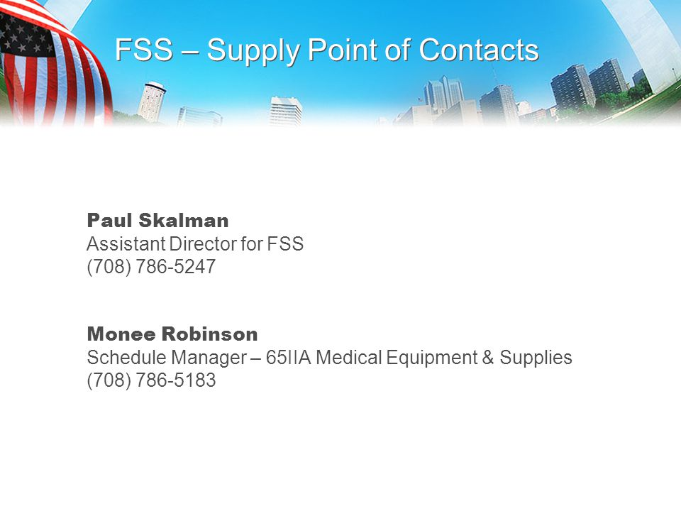 FSS – Supply Point of Contacts