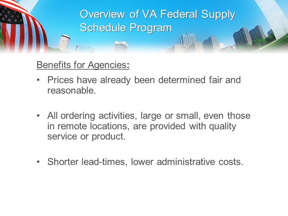 Overview of VA Federal Supply Schedule Program
