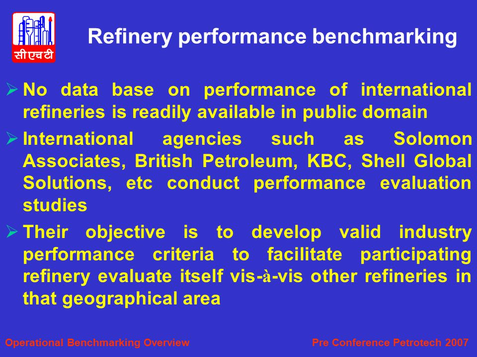 Refinery performance benchmarking