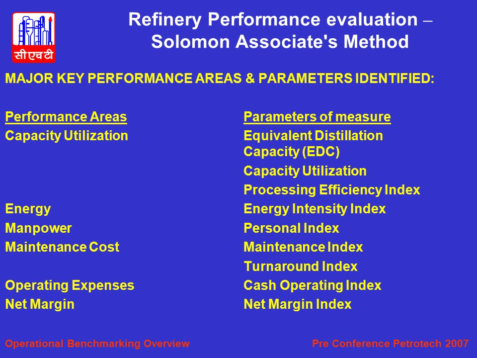 Refinery Performance evaluation – Solomon Associate s Method