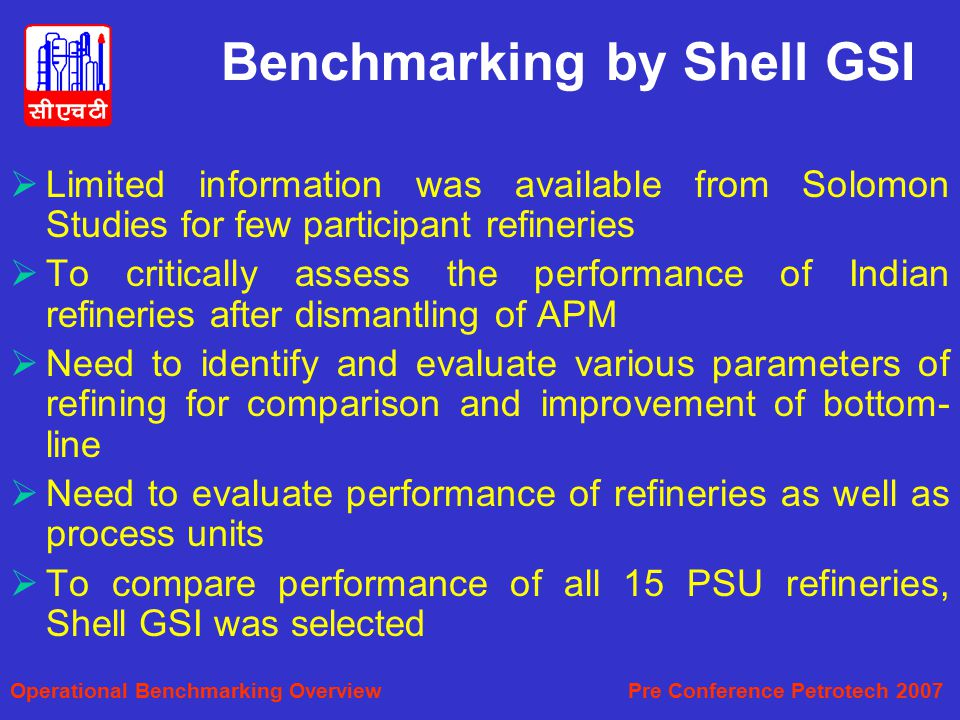 Benchmarking by Shell GSI