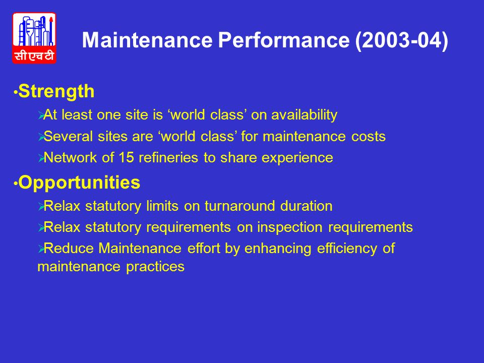 Maintenance Performance (2003-04)