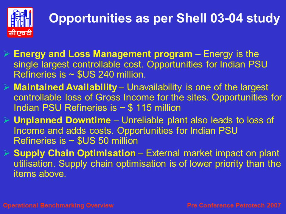Opportunities as per Shell 03-04 study