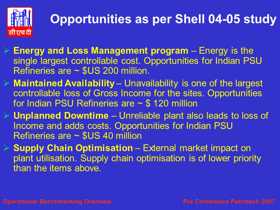 Opportunities as per Shell 04-05 study