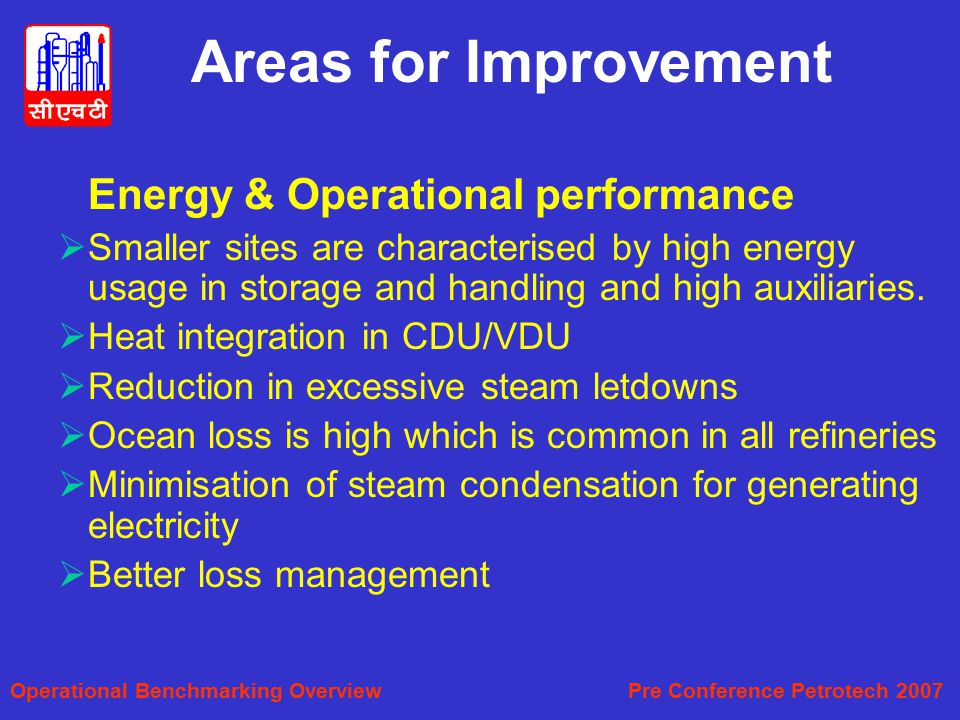 Areas for Improvement Energy & Operational performance