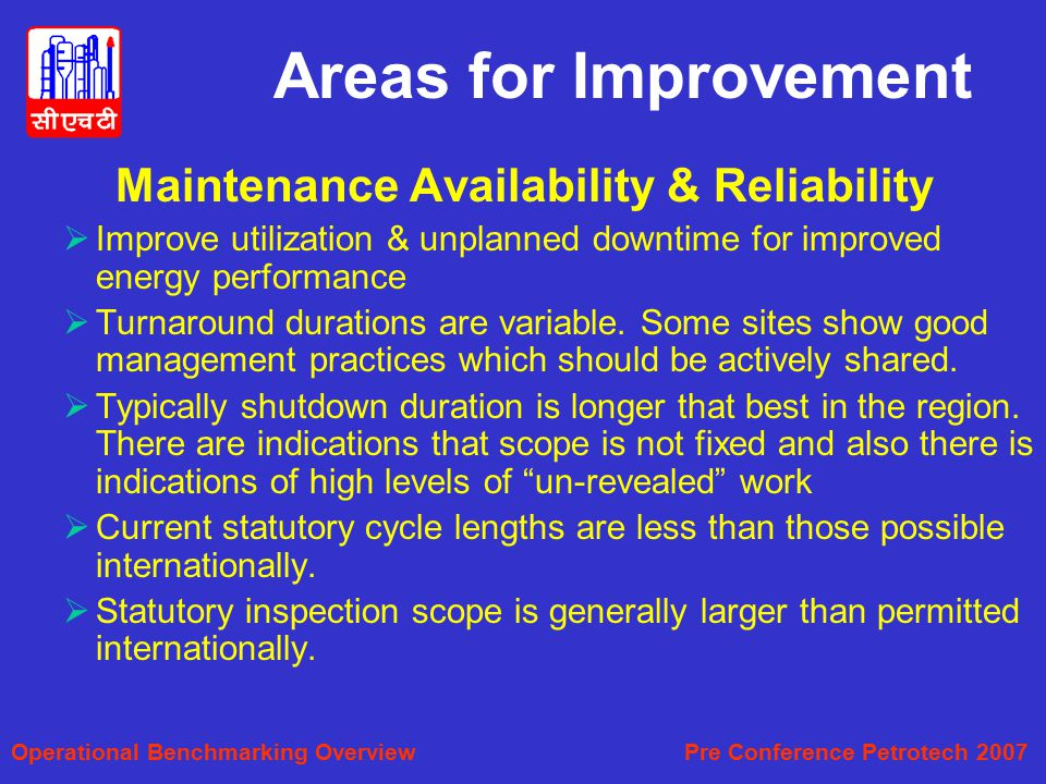 Areas for Improvement Maintenance Availability & Reliability