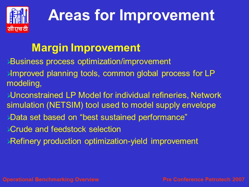 Areas for Improvement Margin Improvement