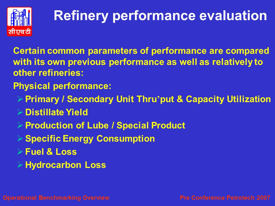Refinery performance evaluation
