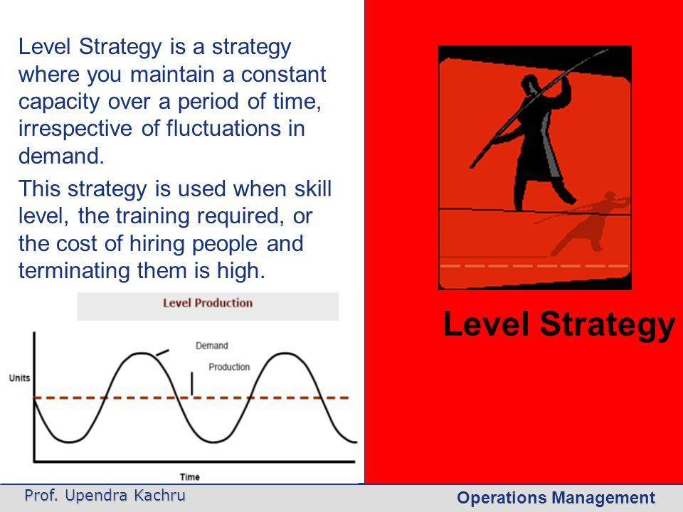 Level Strategy Level Strategy is a strategy where you maintain a constant capacity over a period of time, irrespective of fluctuations in demand.