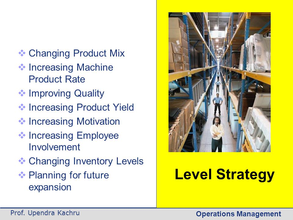 Level Strategy Changing Product Mix Increasing Machine Product Rate