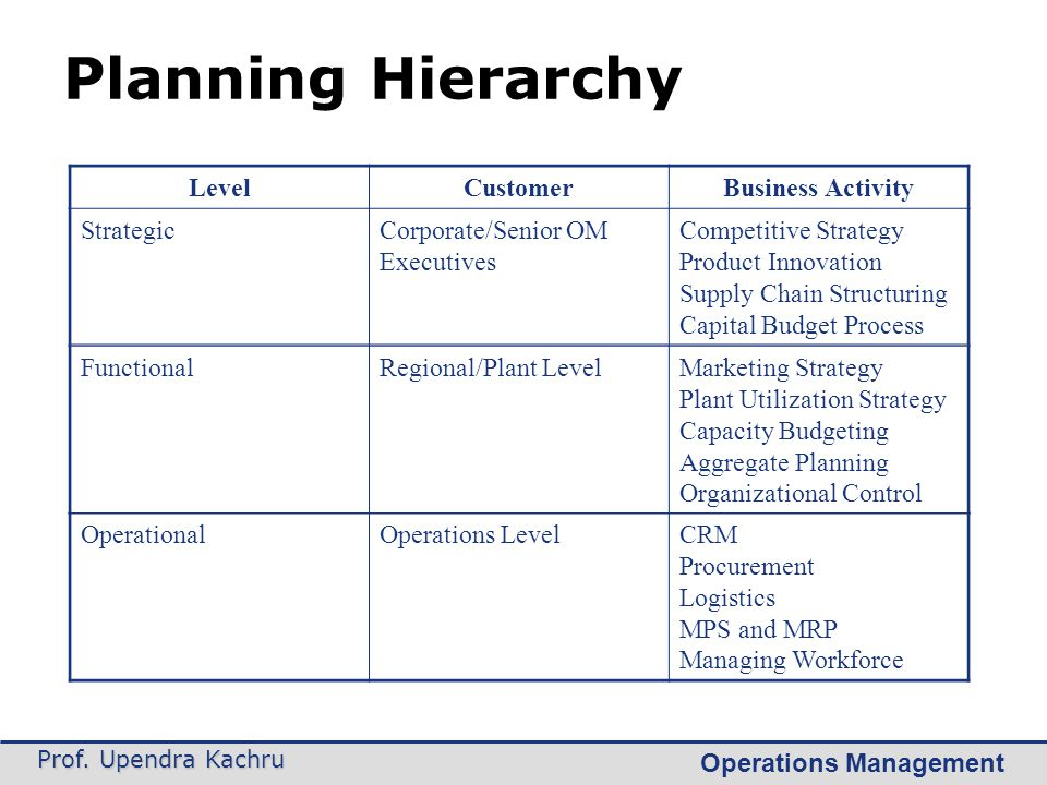 Planning Hierarchy Level Customer Business Activity Strategic