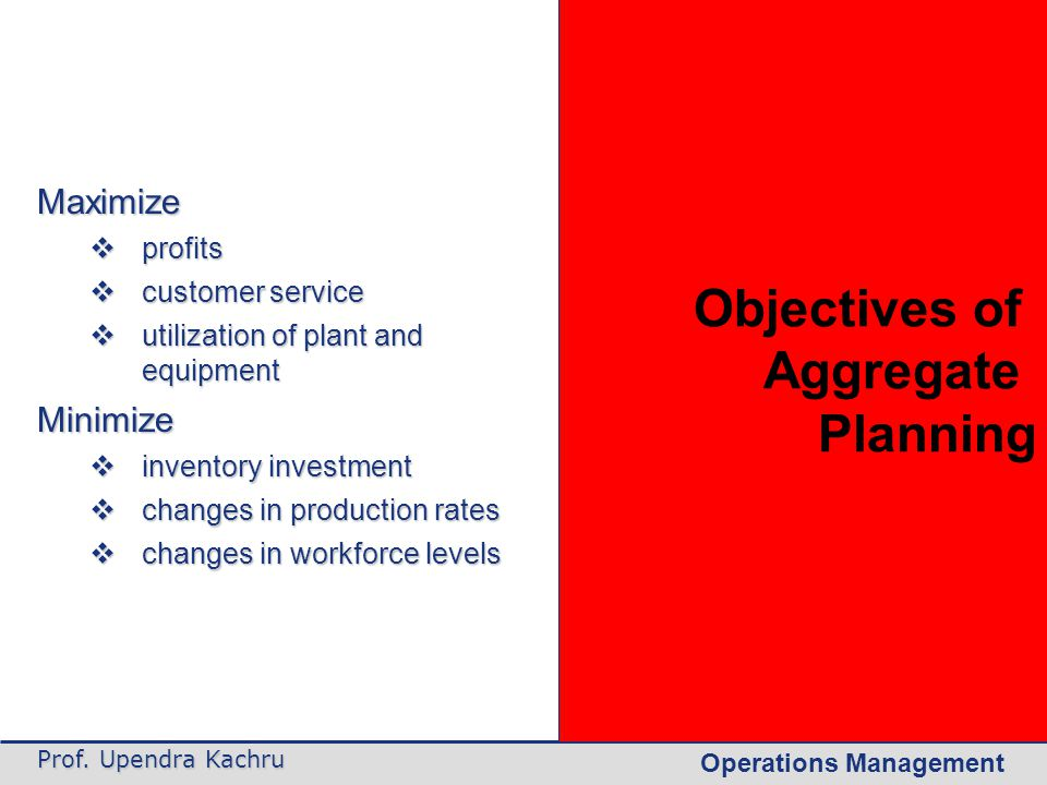 Objectives of Aggregate Planning Maximize Minimize profits