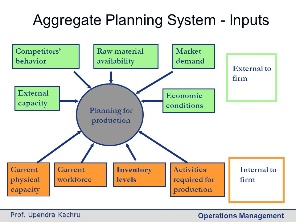 Aggregate Planning System - Inputs