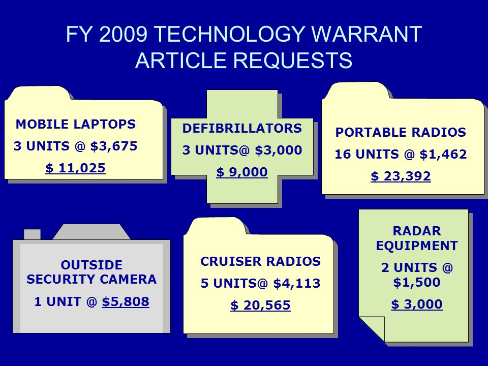 FY 2009 TECHNOLOGY WARRANT ARTICLE REQUESTS
