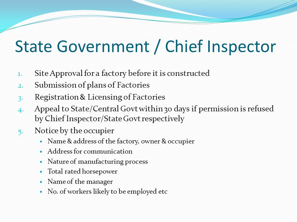 State Government / Chief Inspector