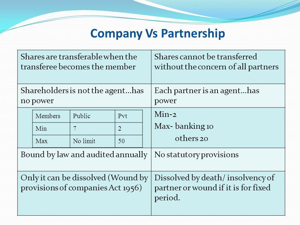 Company Vs Partnership