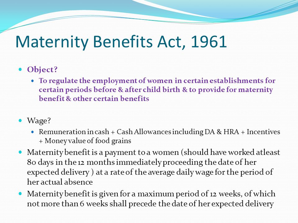 Maternity Benefits Act, 1961
