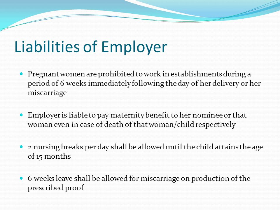 Liabilities of Employer