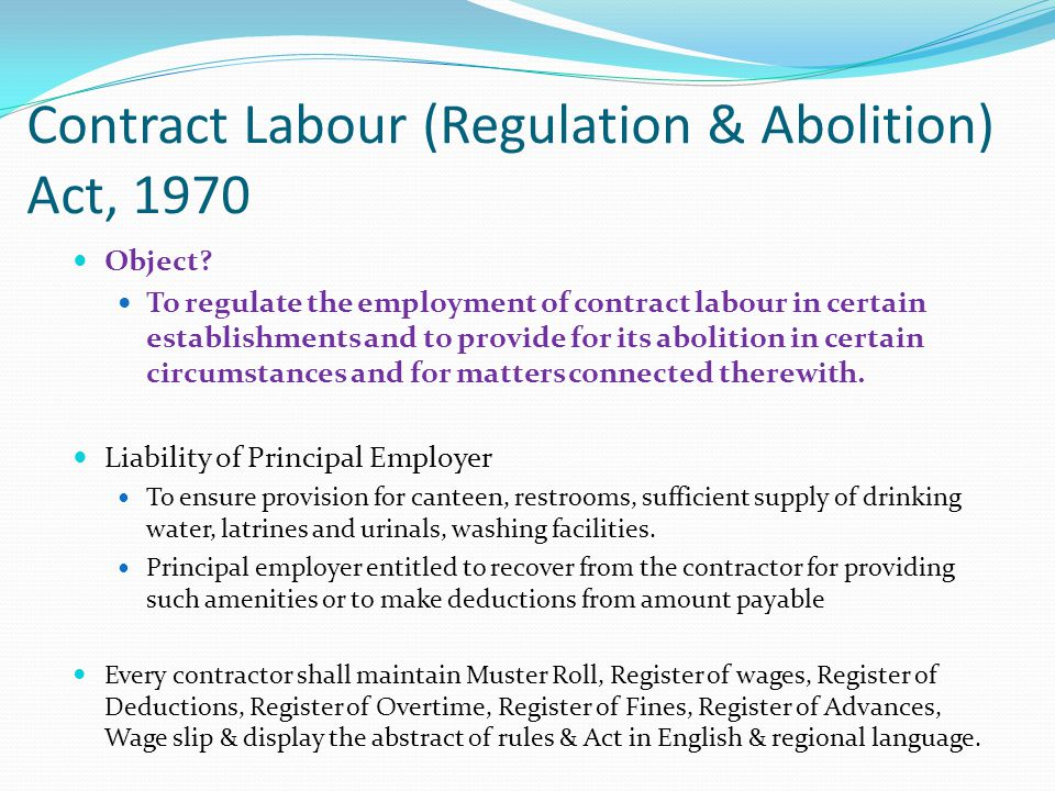 Contract Labour (Regulation & Abolition) Act, 1970