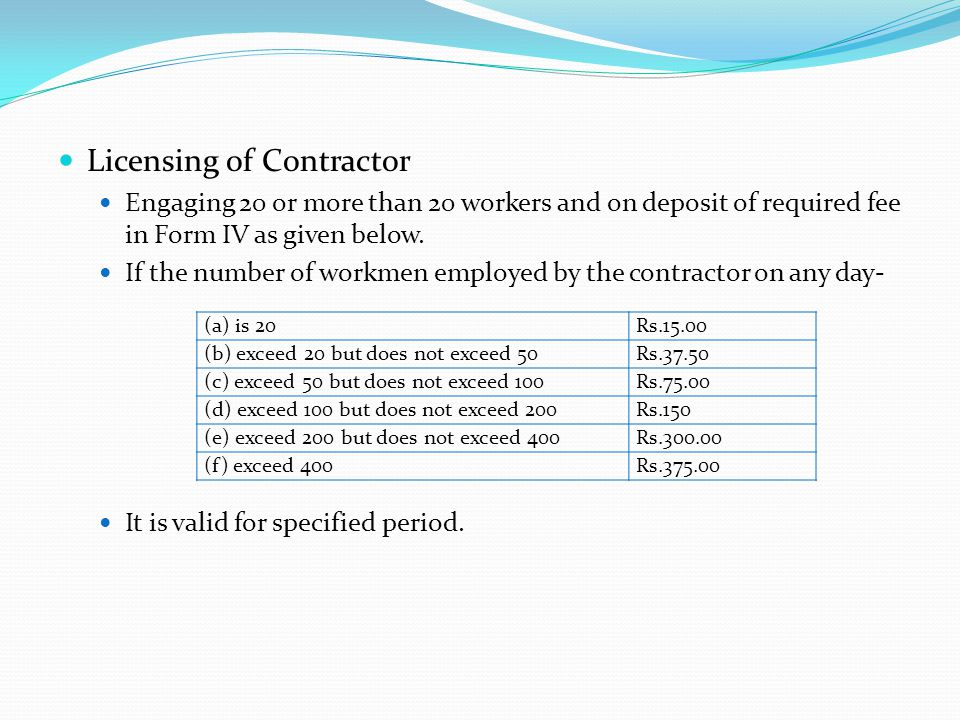 Licensing of Contractor