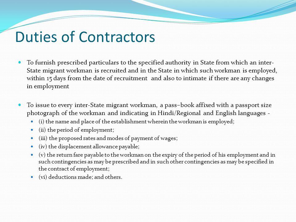 Duties of Contractors