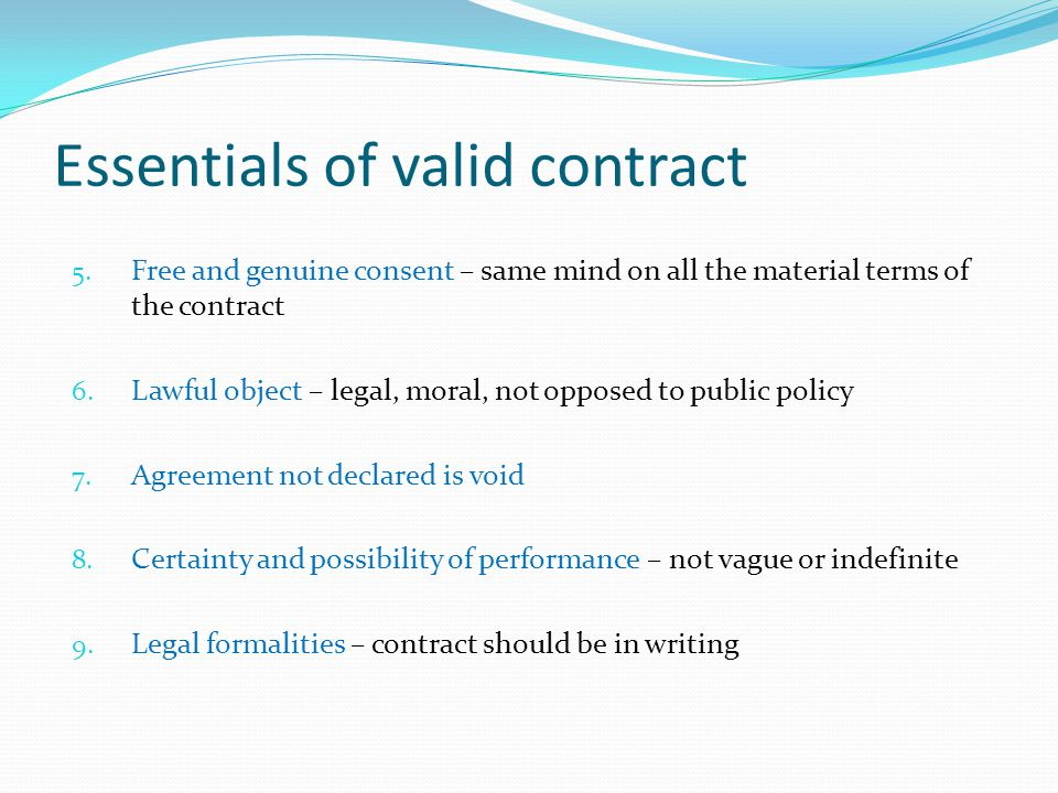 Essentials of valid contract