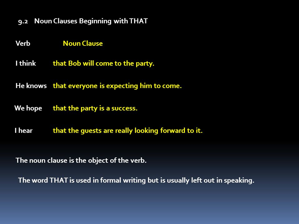 9.2 Noun Clauses Beginning with THAT