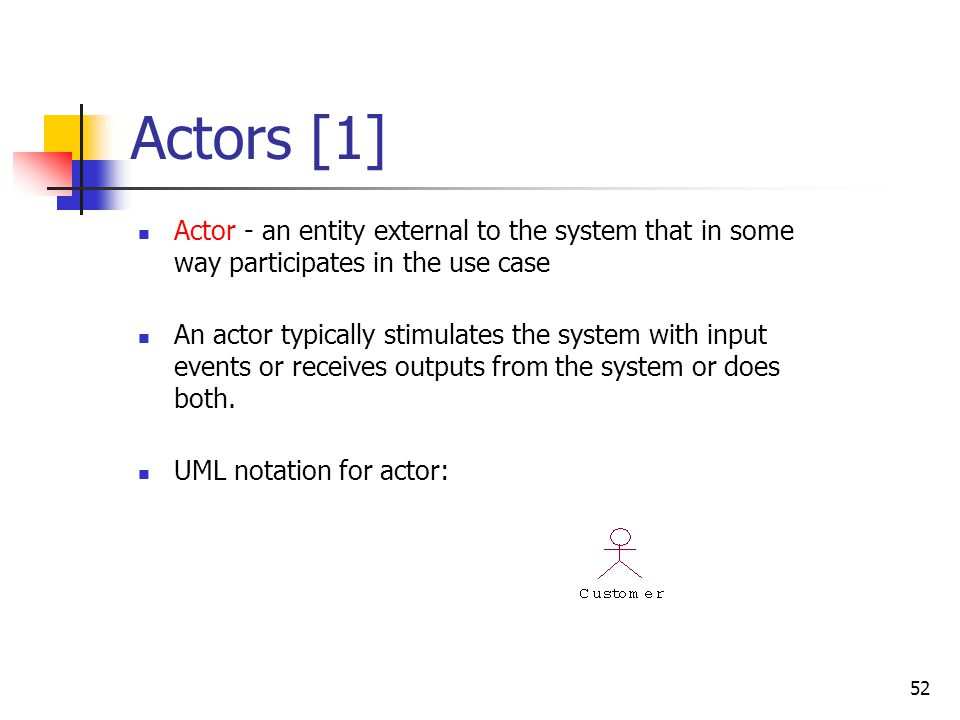 Use Cases Use case - narration of the sequence of events of an actor using a system.