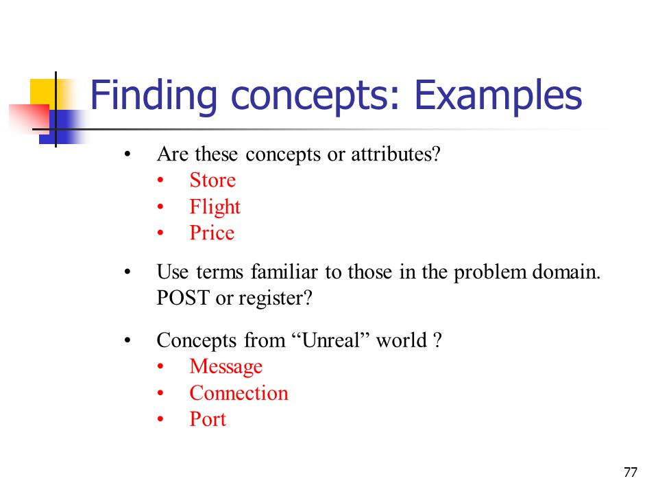 Finding concepts: refer to use cases