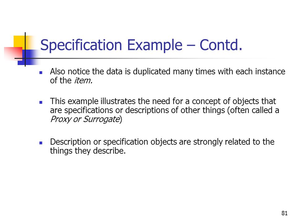Specification Example