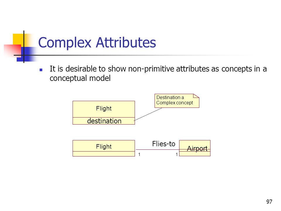Complex Attributes Pure data values - expressed as attributes; they do not illustrate specific behaviors;