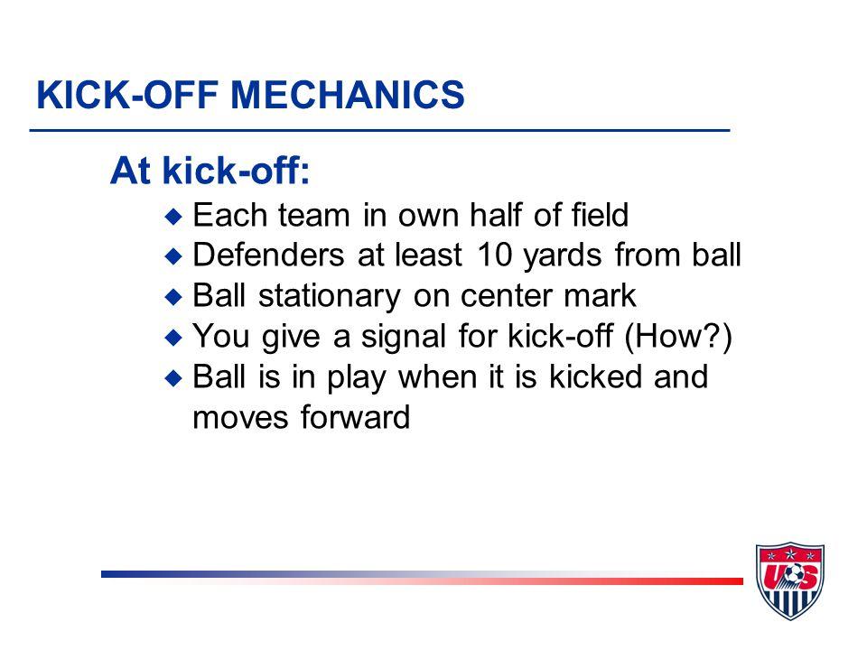 KICK-OFF MECHANICS At kick-off: Each team in own half of field
