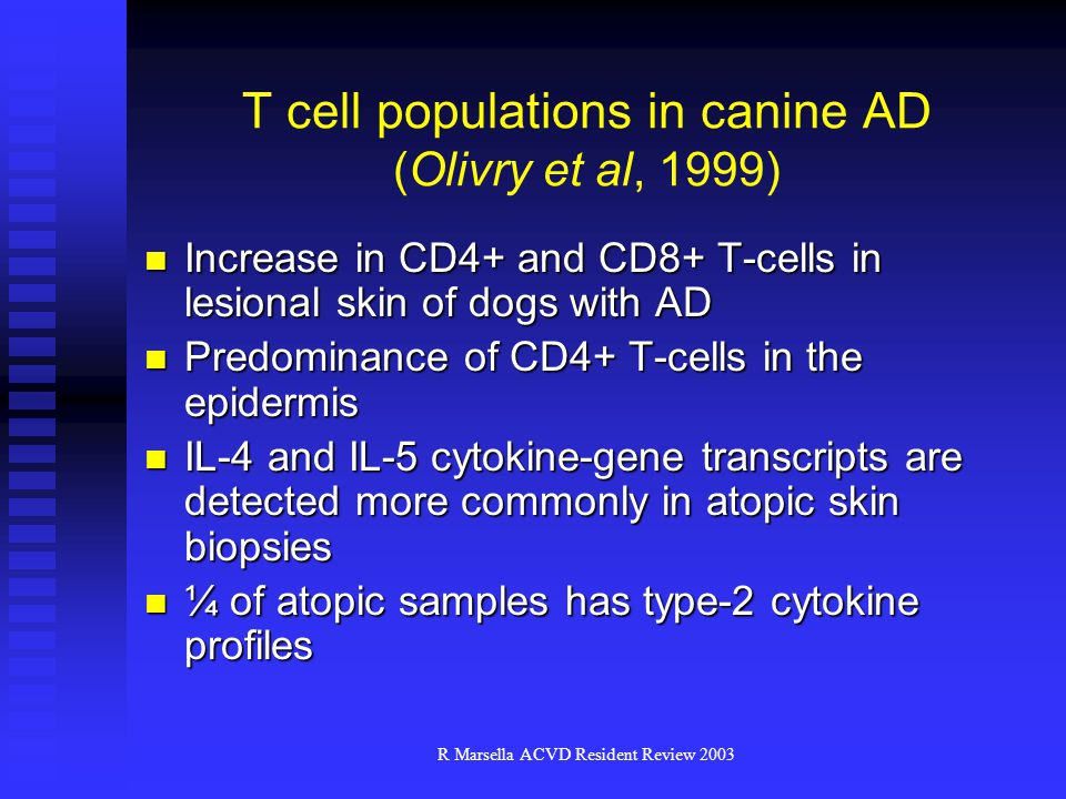 T cell populations in canine AD (Olivry et al, 1999)